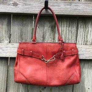 Coach Red Leather Hampton Handbag Purse 8A71